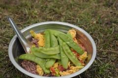 Camping-Nachtessen: Wildreis, Tomaten mit Rührei und Kefen.