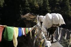 Leere Petflaschen werden nach Namche auf 3500m getragen um dort mit Wasser befüllt zu werden.