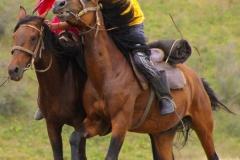 """Weniger raue Variante des Pferdewettkampfes. Die """"Braut"""" muss eingeholt und geküsst werden..."""