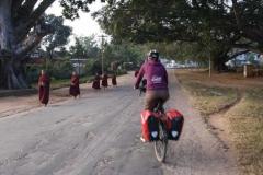 Mönche auf morgendlicher Almosensammlung.