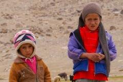 Zwei einsame Kinder schauen zu ihren Schafen und Ziegen.