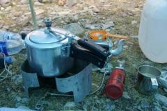 Dampfkochtopf in Betrieb