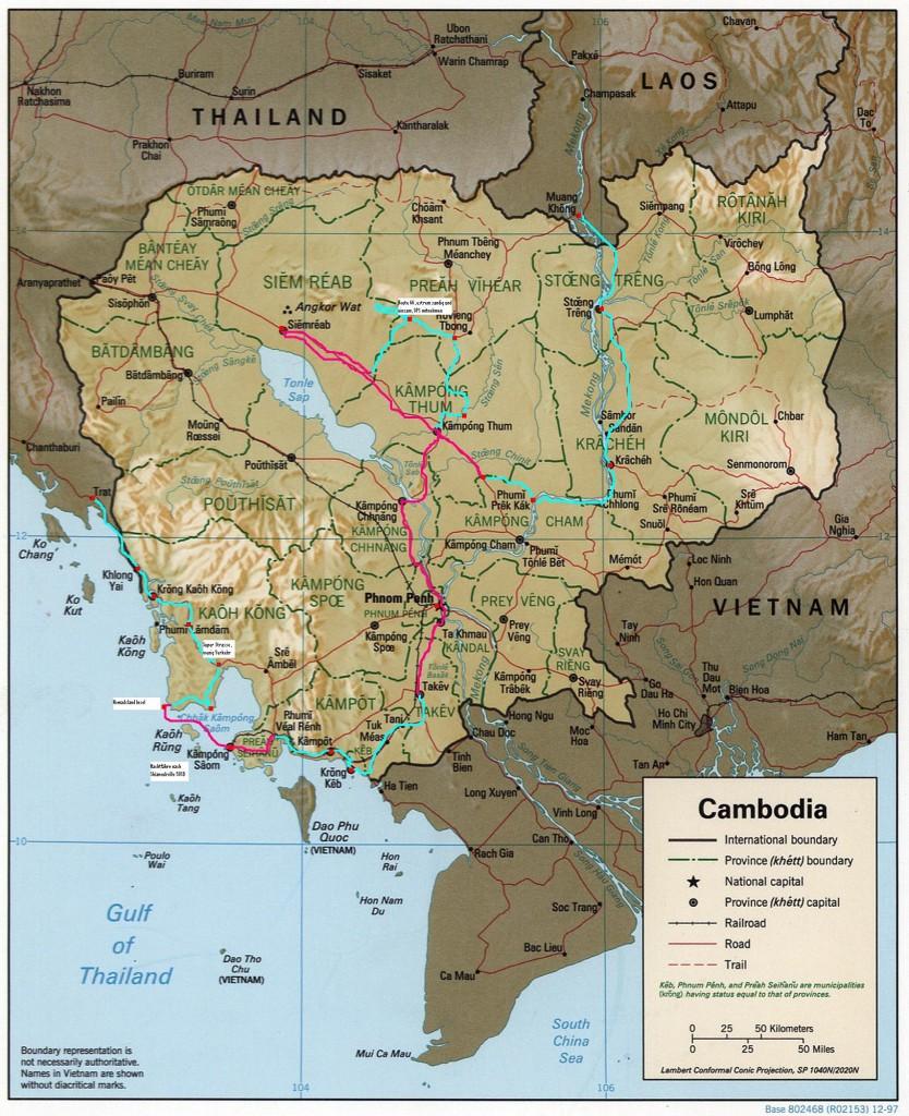 Unsere Veloroute durch Kambotscha
