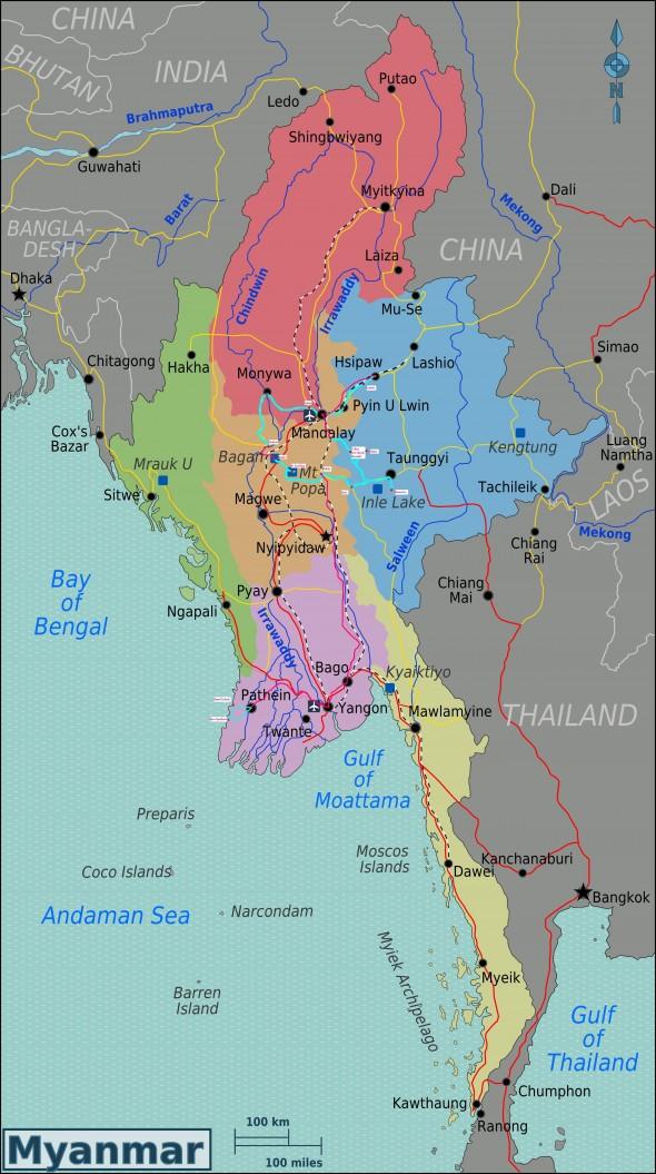 Unsere Reiseroute durch Myanmar